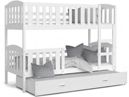 Jakub 3 Color biela poschodová posteľ s prístelkou