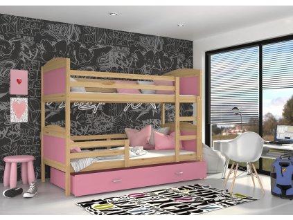 Poschodová posteľ borovicová Mates Color Ružová