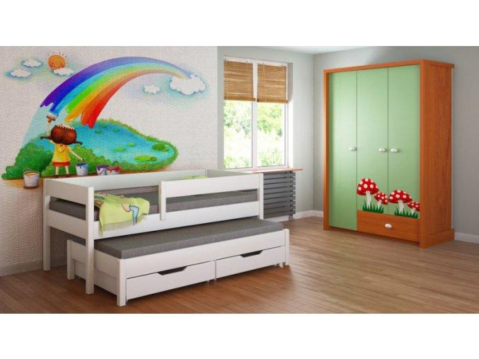 Detská posteľ s prístelkou 180x90 Junior - 4 farby