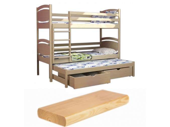 Poschodová posteľ s prístelkou Petra 3 180x80