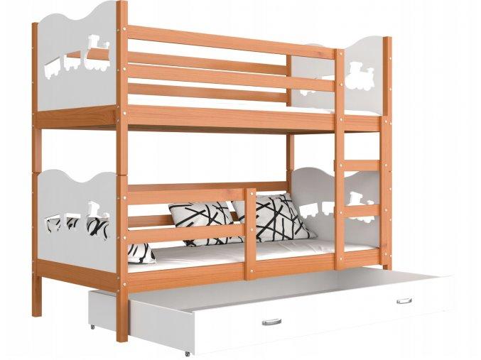 Poschodová posteľ Fox biela 190x80