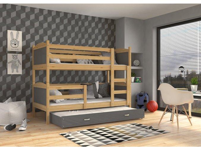Mates 3 borovica COLOR poschodová posteľ s prístelkou