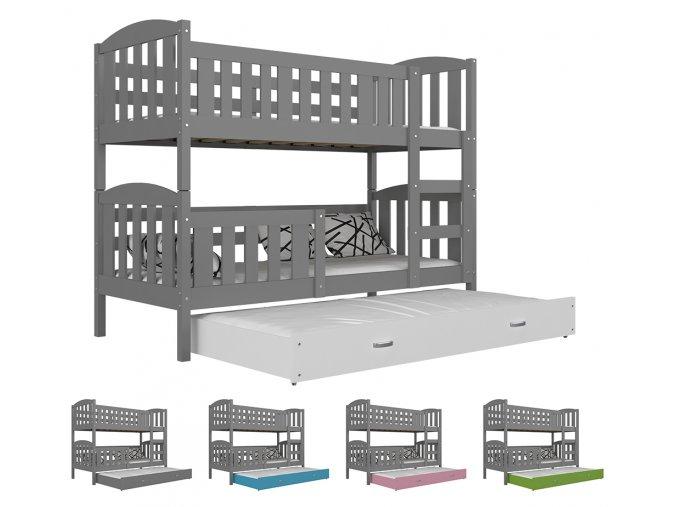 Jakub 3 MDF sivá 190X80 - poschodová posteľ s výsuvnou prístelkou