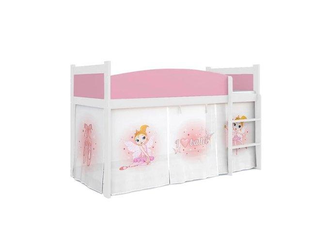Detská biela vyvýšená posteľ Swing balet 01 rošt + matrac