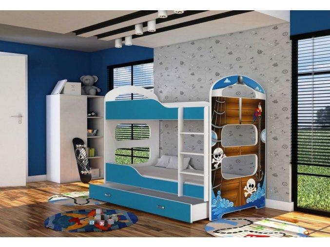 Patrik 2 180x80 poschodová posteľ modrá 4D