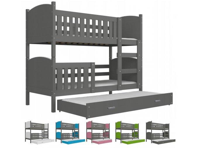 Dobby 3 color sivá poschodová posteľ pre troch - viac farieb