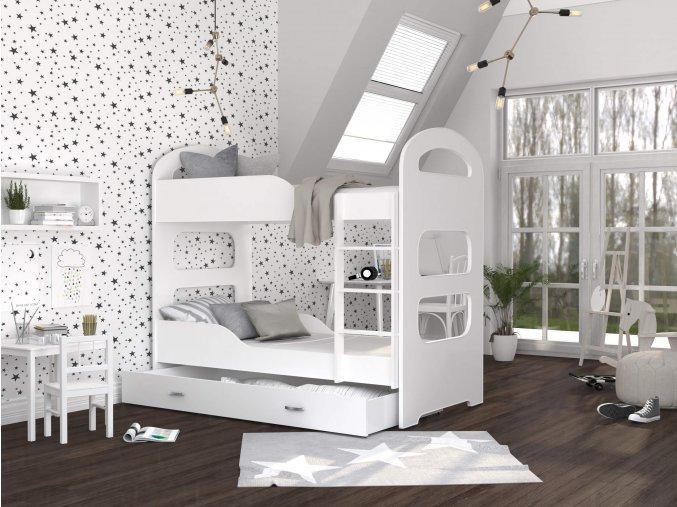 Patrik 160x80 Poschodová posteľ biela