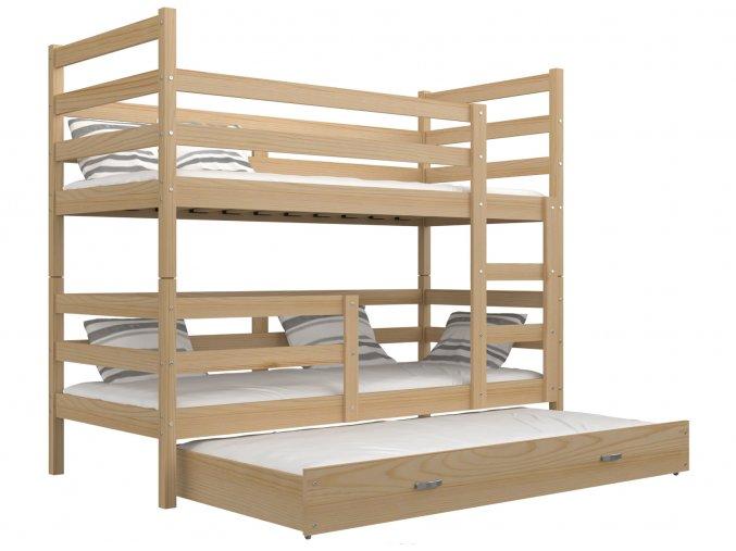 Janík 3 poschodová posteľ s prístelkou 190x80
