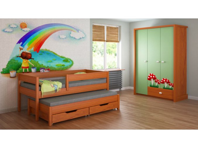 Detská posteľ s prístelkou Junior 140x70 - viac farieb
