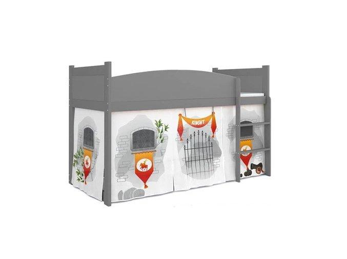 Sivá Swing vyvýšená posteľ pre deti zámok 07 + matrac a rošt