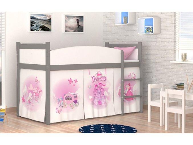 Sivá vyvýšená detská posteľ Swing princezná 06 rošt + matrac zadarmo