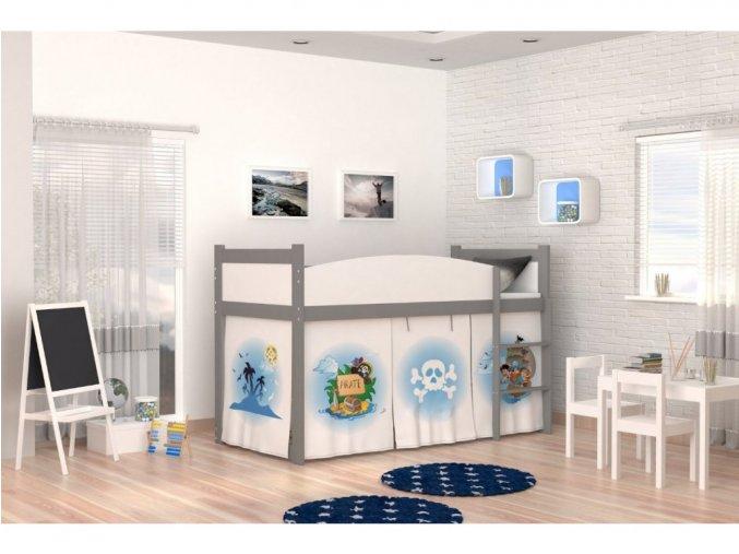 Vyvýšená detská sivá posteľ Swing piráti II. 05 matrac + rošt zadarmo