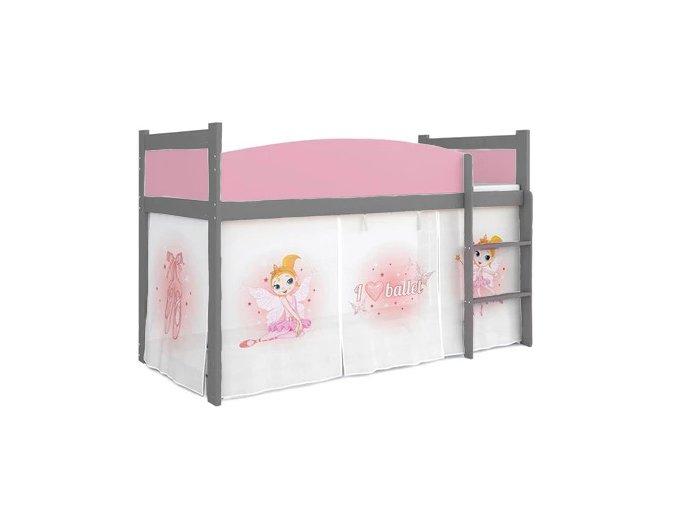 Detská sivá vyvýšená posteľ Swing balet 01 rošt + matrac