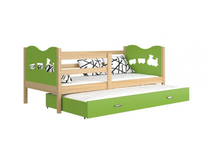 Detská posteľ s prístelkou Fox P2 190x80 zelená