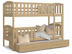 Poschodové postele s prístelkou 190x80 cm