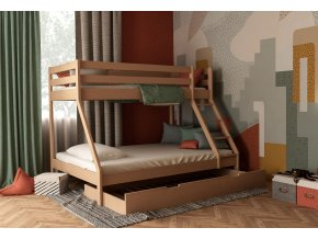 Mikael poschodová posteľ s rozšíreným lôžkom 200x140 + prístelka