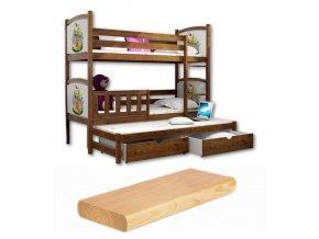Detské poschodové postele s prístelkou Petra 7 180x80