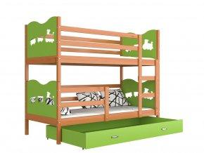 Poschodová posteľ Fox zelená 190x80