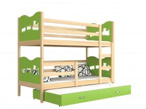 Trojlôžkové poschodové postele Fox 3 190x80 zelená (Farba Jelša, Motív Vláčik)