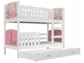 Biele poschodové postele pre deti Dobby 190x80