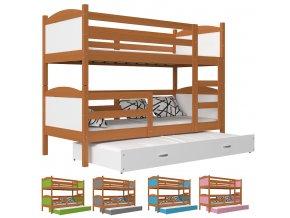 Poschodová posteľ s prístelkou Mates 3 jelša COLOR