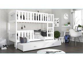 Jakub 3 Color biela 190x80 poschodová posteľ s prístelkou