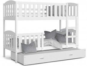 Jakub 3 Color biela 190x80 poschodová posteľ s prístelkou (Farba Zelená)
