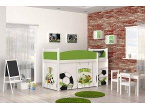 Swing Biela detská posteľ s vyvýšeným lôžkom futbal 02