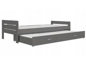 Sivá posteľ s výsuvným lôžkom Cristo 200x90