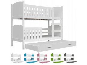 Dobby 3 Color biela poschodová posteľ pre troch 190x80 - viac farieb