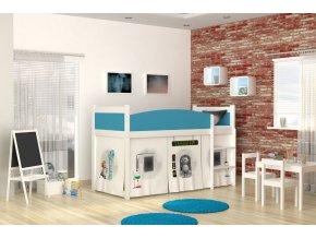 Detská posteľ s vyvýšeným lôžkom Swing laboratórium 03 rošt + matrac zadarmo