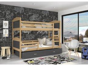 Poschodová posteľ borovicová Mates Color 190x80