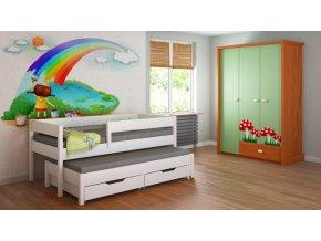 Detská posteľ s prístelkou Junior 140x70 - biela - výpredaj