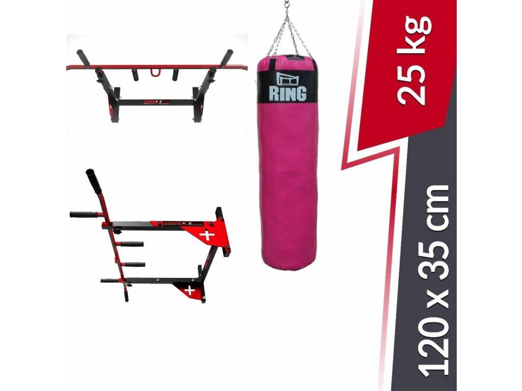 Posilovací hrazda s růžovým boxovacím pytlem