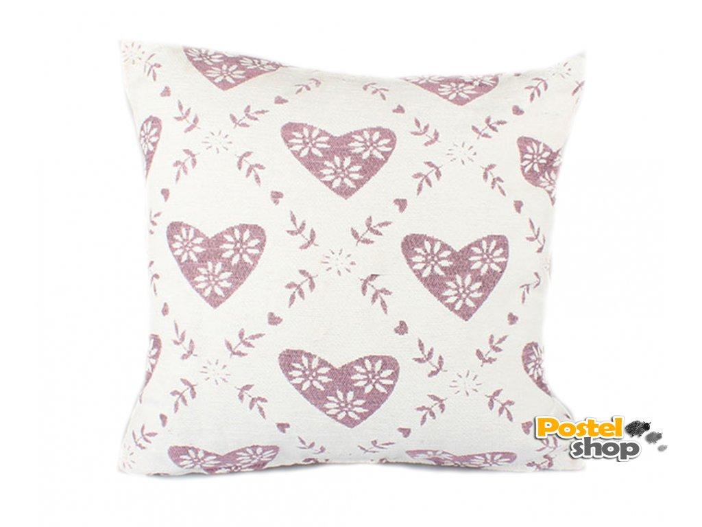 povlak na polštář srdíčka růžový