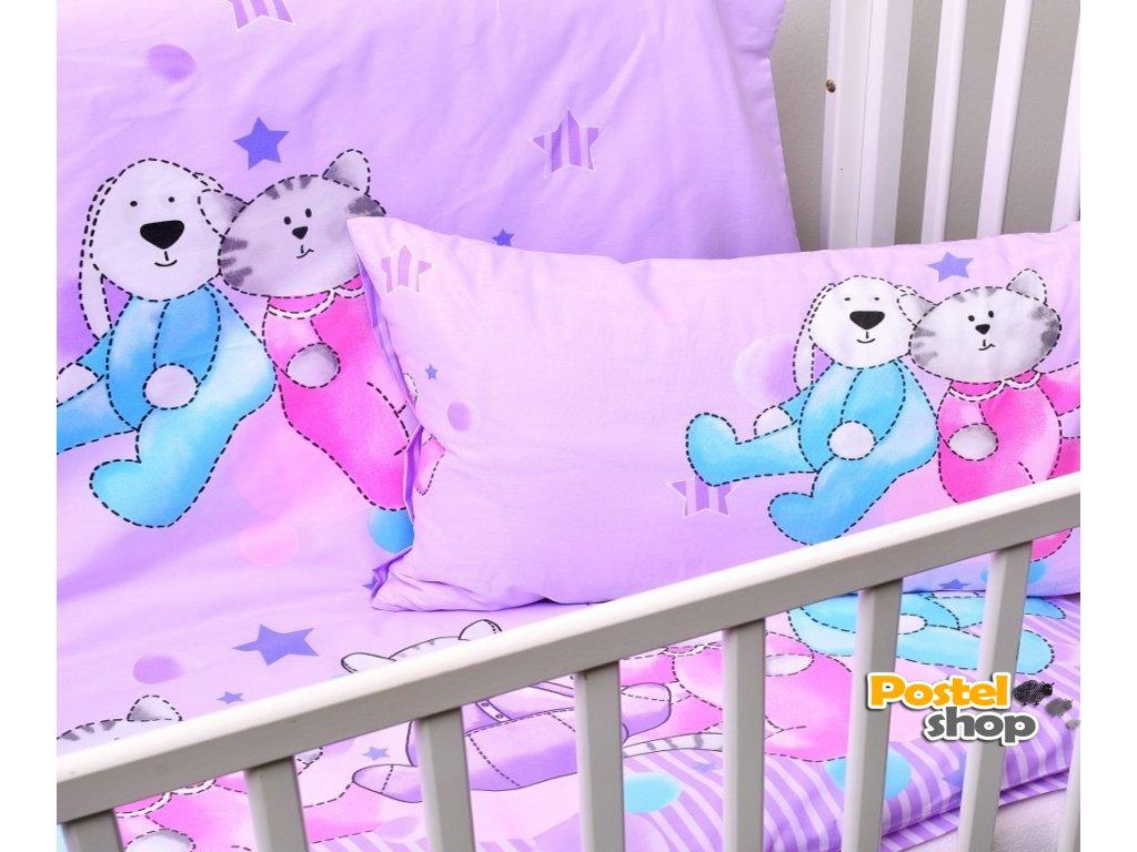 dětské povlečení do postýlky fialové