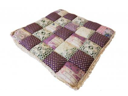 sedák provence fialový s krajkou