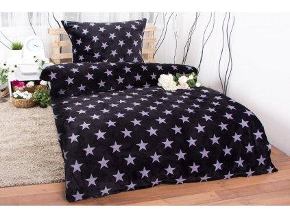povlečení bavlna hvězdy černo šedé