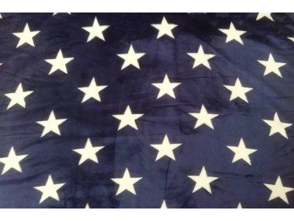 deka mikroflanel hvězdy modrá