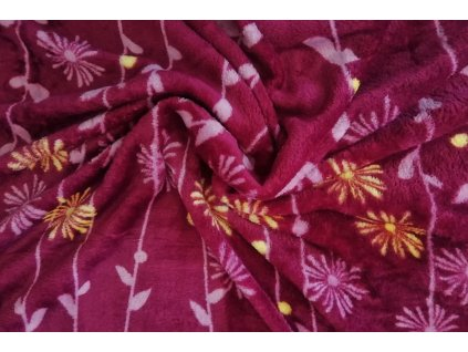 deka mikroflanel vínová květy 2