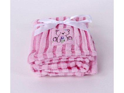 dětská deka mikrovlákno medvídek růžová