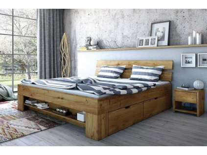 postel Tina dub masiv se zásuvkama