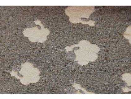 dětská deka mikrovlákno šedá s ovečkama