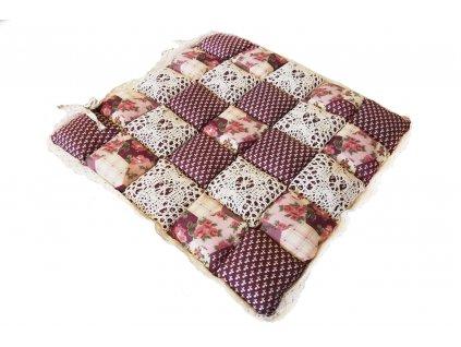 sedák provence fialový s květy