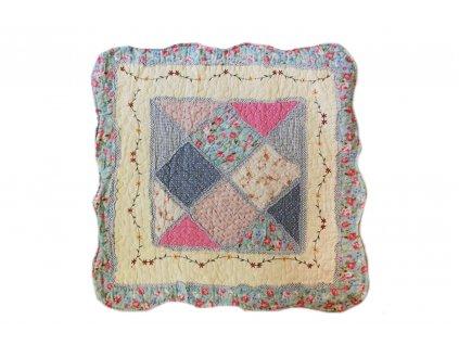 povlak na polštář provence patchwork světle modrý