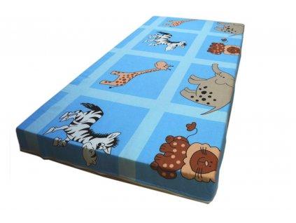dětská matrace do postýlky zvířátka modrá