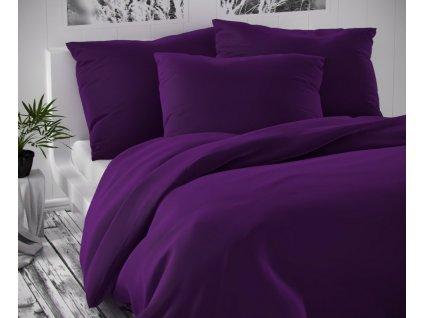 povlečení kvalitex luxury bavlněný satén tmavě fialové