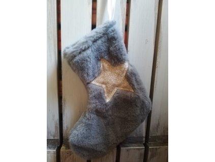 ponožka závěsná plyšová šedá