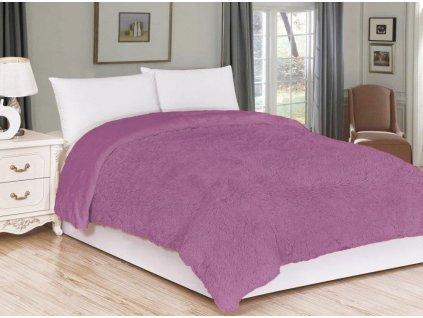 přehoz deka dlouhý chlup fialová