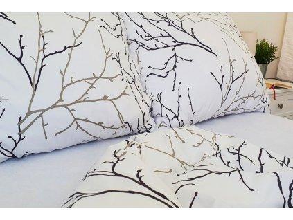 povlečení bavlna větvičky bílé
